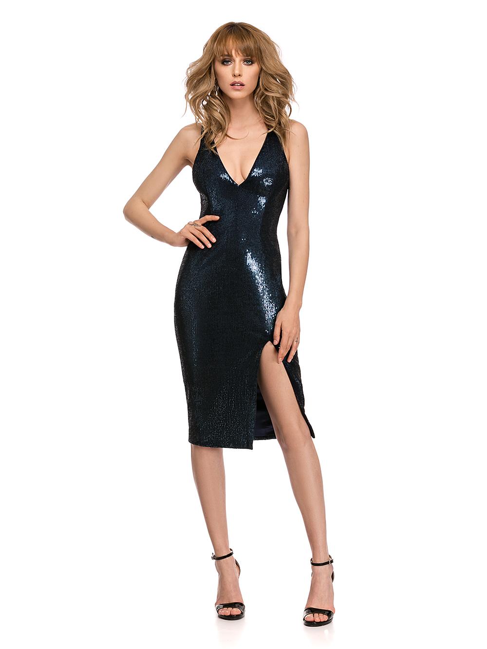 rochie bleumarin cu paiete